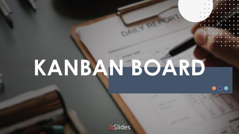kanban board welcome slide in creative style with image