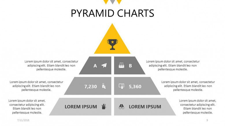 pyramid chart in four stages with icon and text