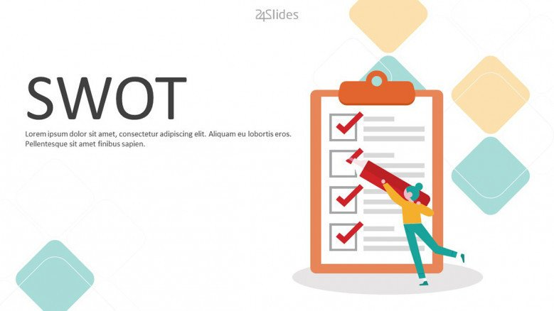 welcome slide for SWOT presentation with playful illustration