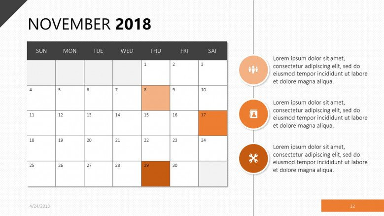 Calendar for November 2018 in orange theme
