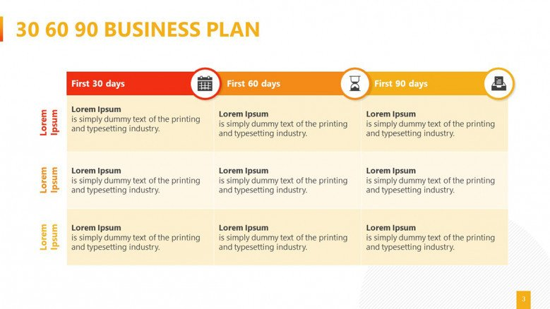 3x3 Table for a 30 60 90 Business Plan Presentation