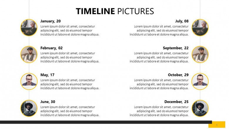 timeline with picture of team member slide