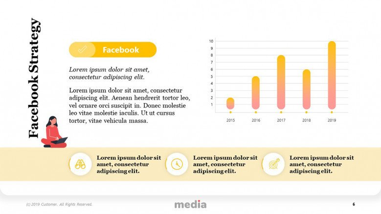 Facebook Strategy Template with column chart and playful icons