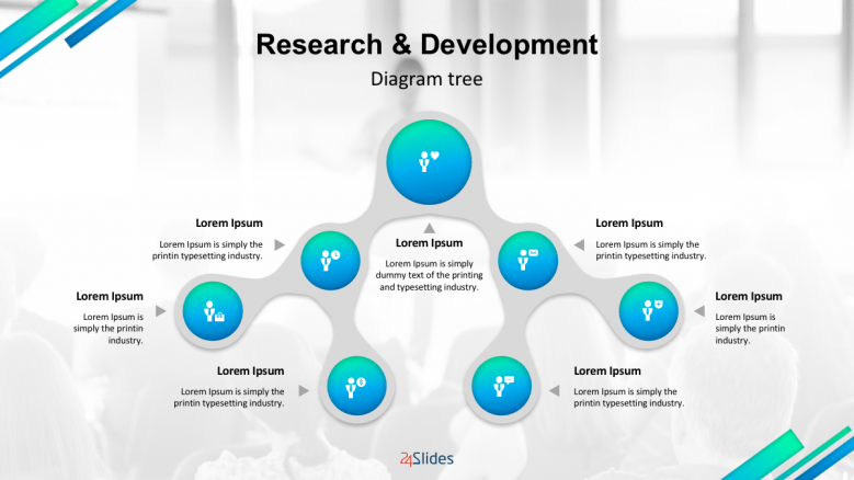 Creative research and development slide with icons