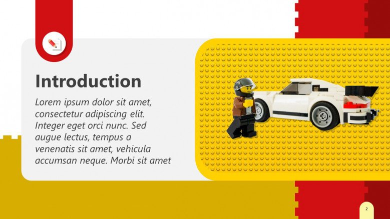 Lego Text PowerPoint Slide in red and yellow