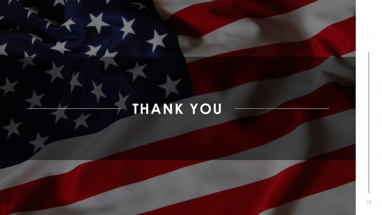 Thank you slide with background of the American Flag