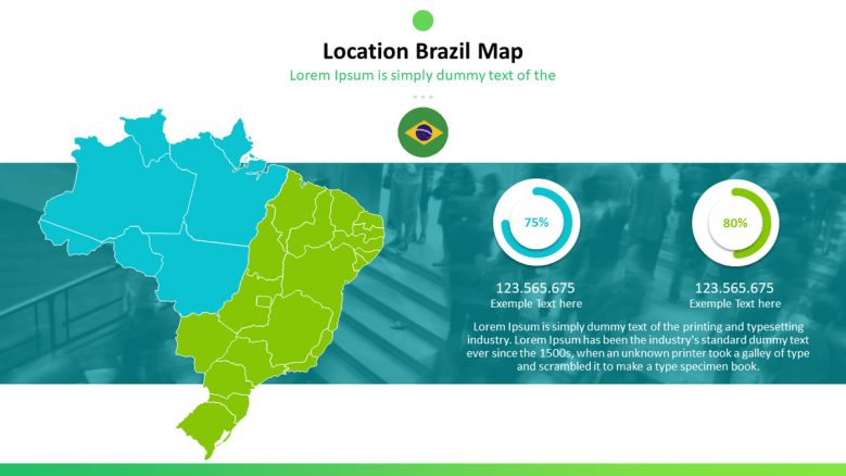 Brazil map with pie chart