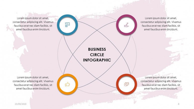 PowerPoint diagram with four circles for business presentations