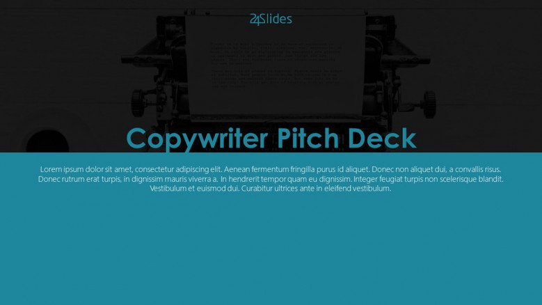 welcome slide for copy writer pitch deck presentation