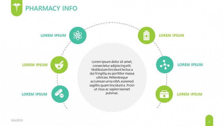 pharmaceutical pharmacy info slide in cycle chart with icons