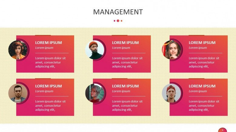 team management slide with image and description text