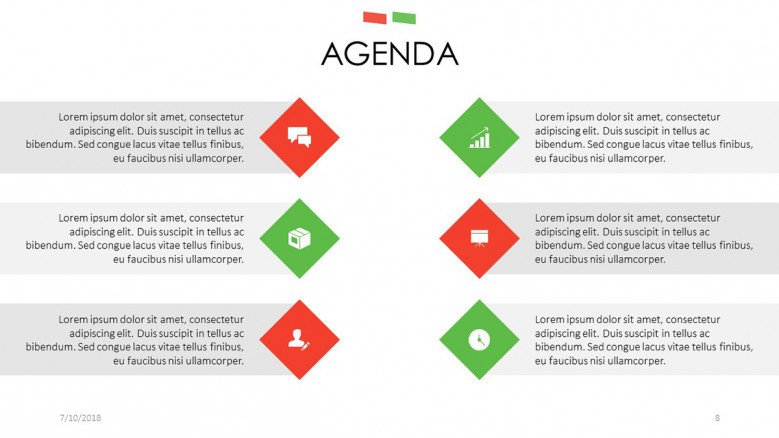agenda slide with key factors icons and text description