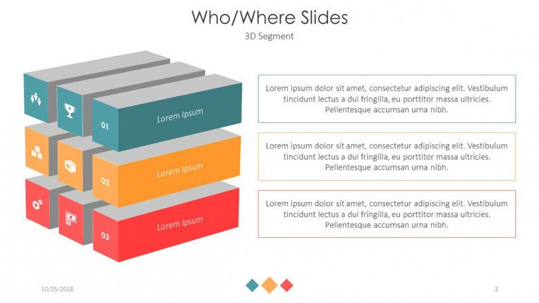who and where slides in three 3D blocks segments and texts