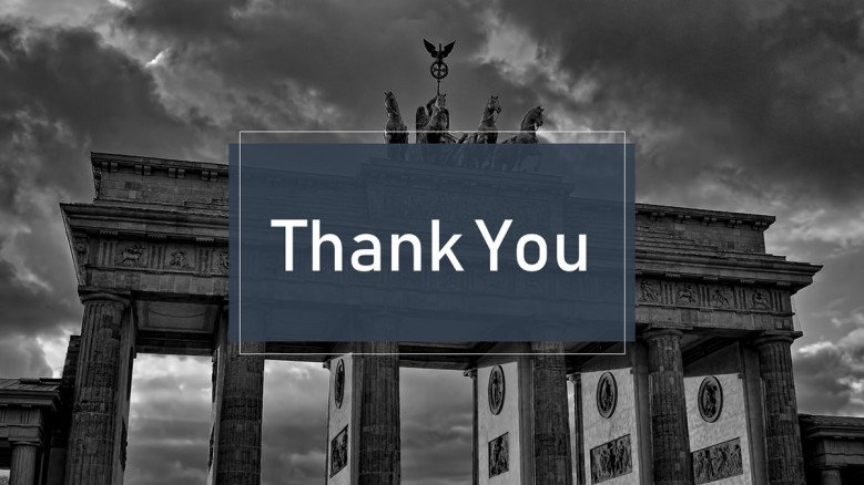 Thank you slide with an black and white image as background