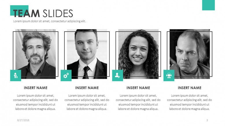 team slide presentation for profile in four squares