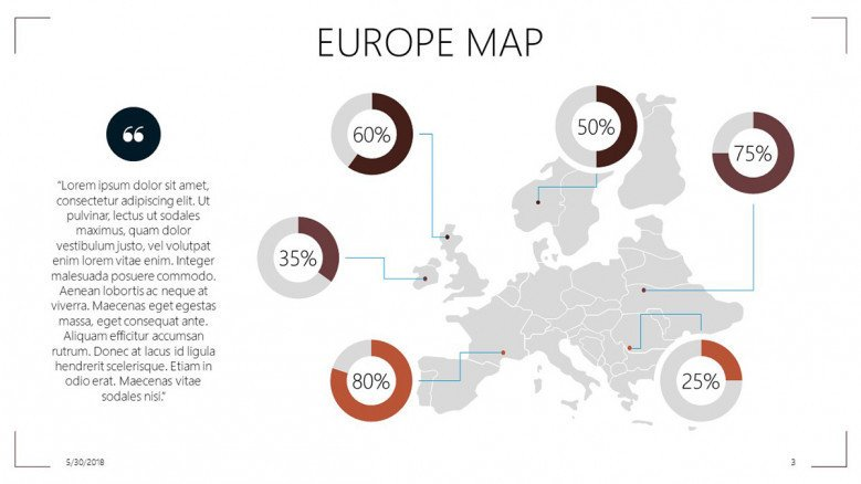 Europe map with data driven circle chart