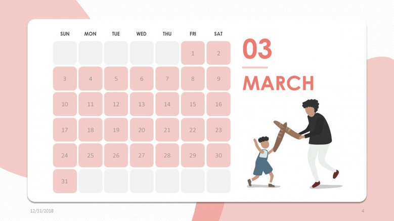 2019 calendar march in creative style with illustration