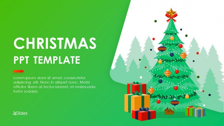 Playful Title Slide with a Christmas Tree graphic and gifts
