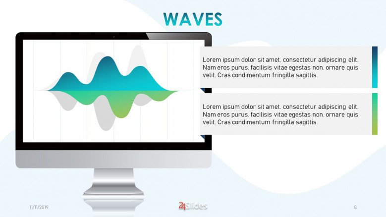 Wavy area chart in blue and green