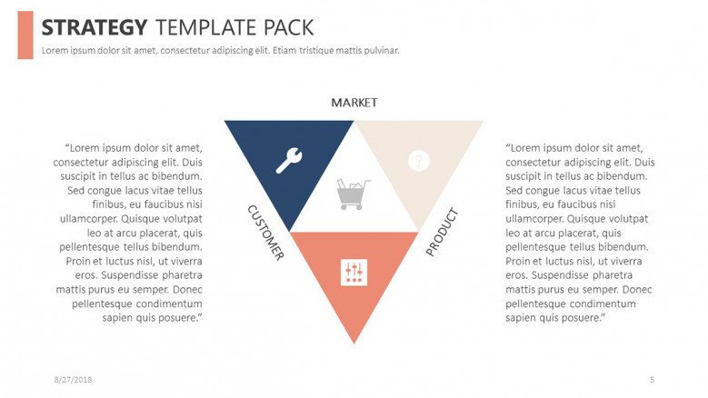 strategy slide in triangle diagram with icons and description text box