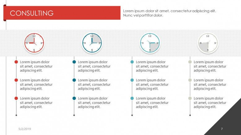 consulting slide with time agenda chart