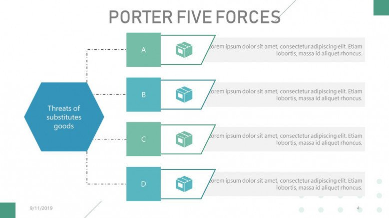 Porter's Five Forces List with icons for substitute goods