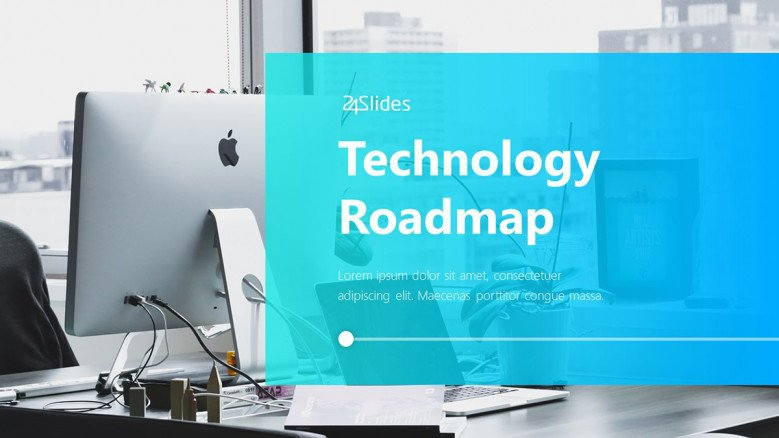 Technology Roadmap Title Slide with an office image as background
