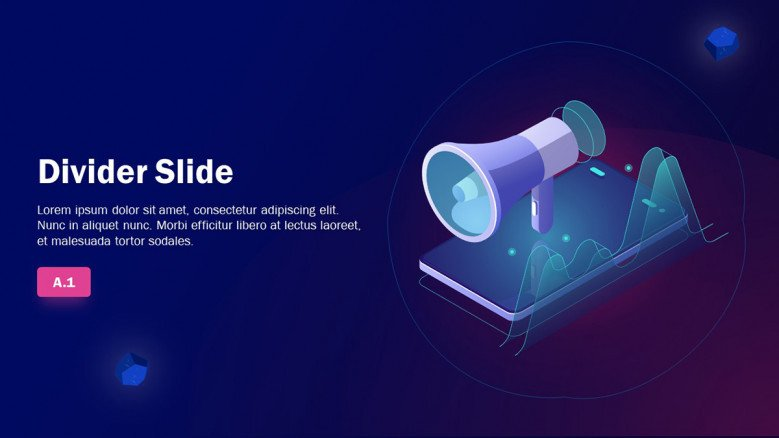 Playful Divider Slide in blue colors for a Marketing Presentation