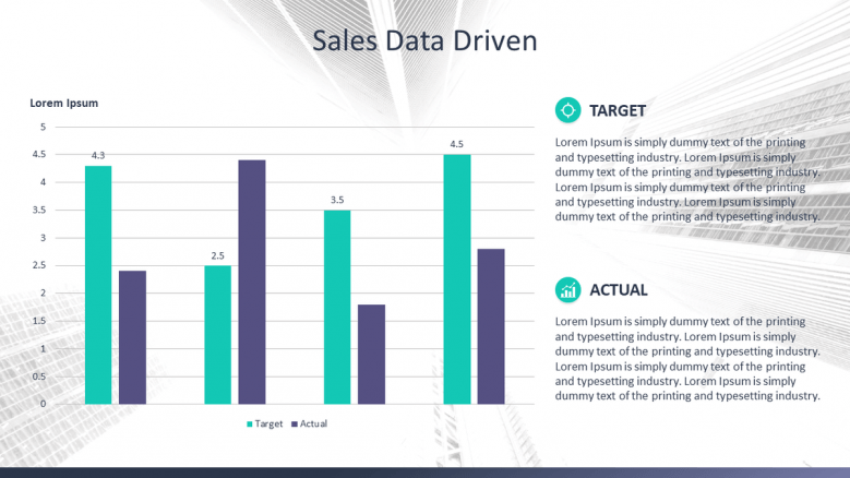 sales data driven slide in compared bar chart with text