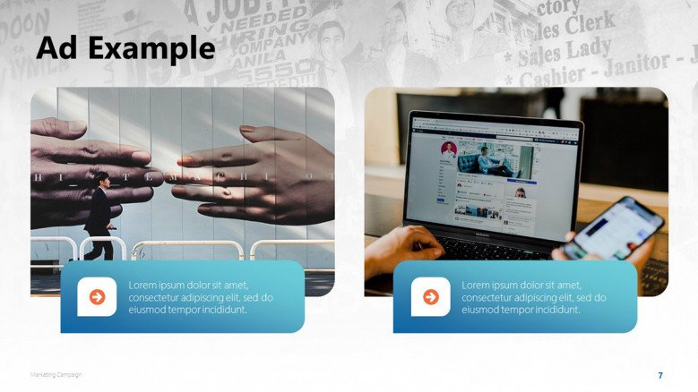 Marketing Campaign's Ad Examples in PowerPoint