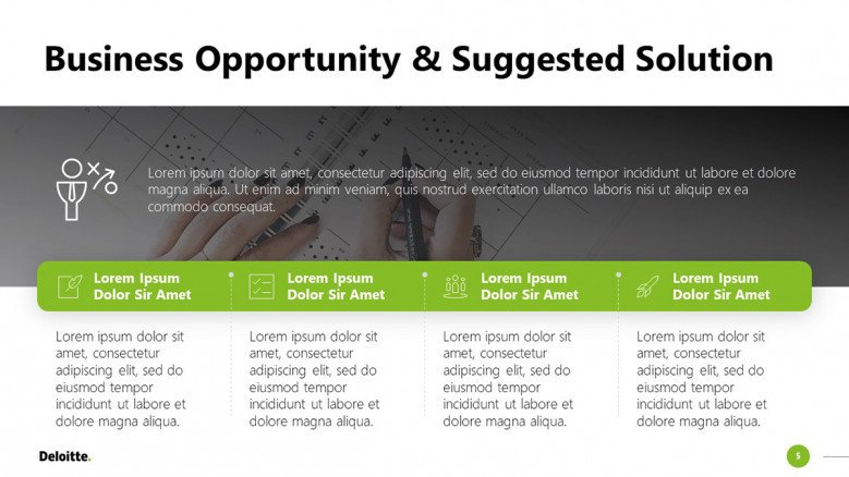 Business Opportunities Slide in Deloitte colors