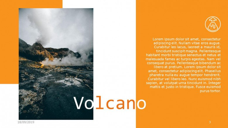 Simple text slide with a volcano image