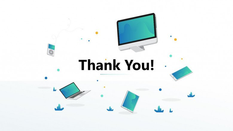 Modern thank you slide with desktop images