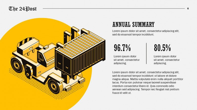 Creative text slide with logistics illustrations and percentages