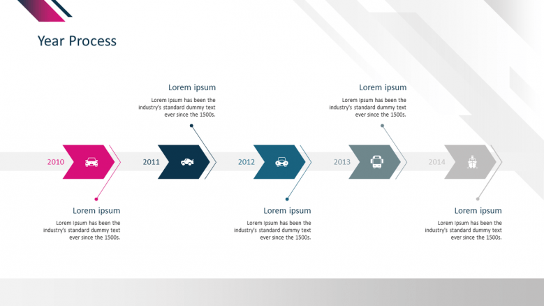 corporate presentation in process chart with five stages
