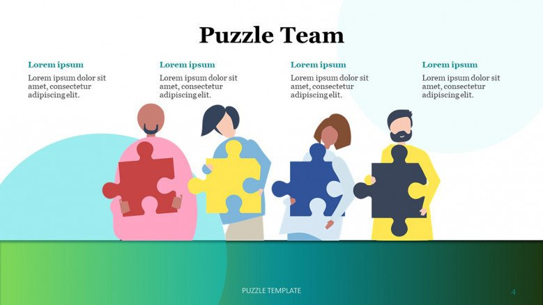 Meet the team slide with red, yellow, blue and grey jigsaw puzzle pieces illustrations
