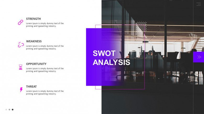 SWOT Analysis Slide for Pitchbook Presentation