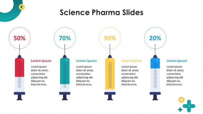 playful science pharmaceutical data driven percentage slide with syringe illustration