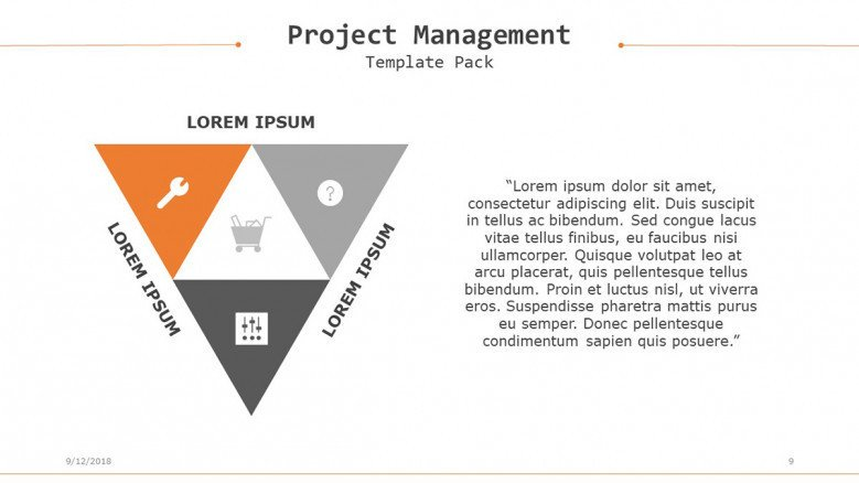 project management in triangle chart with icons