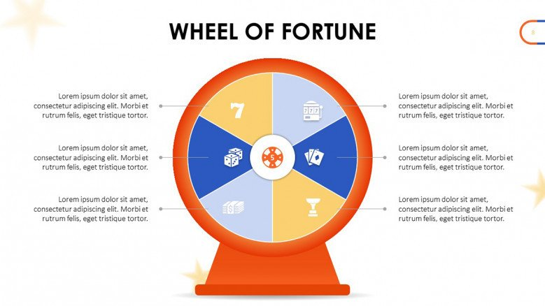 Simple Wheel of Fortune with six sections