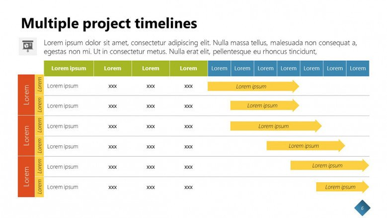 Multiple Project Timeline Template in PowerPoint