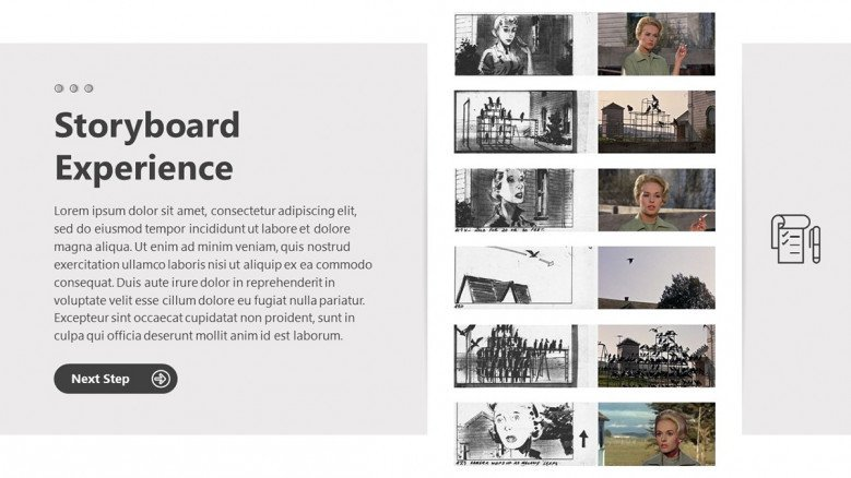 Storyboard Experience Slide in black and white