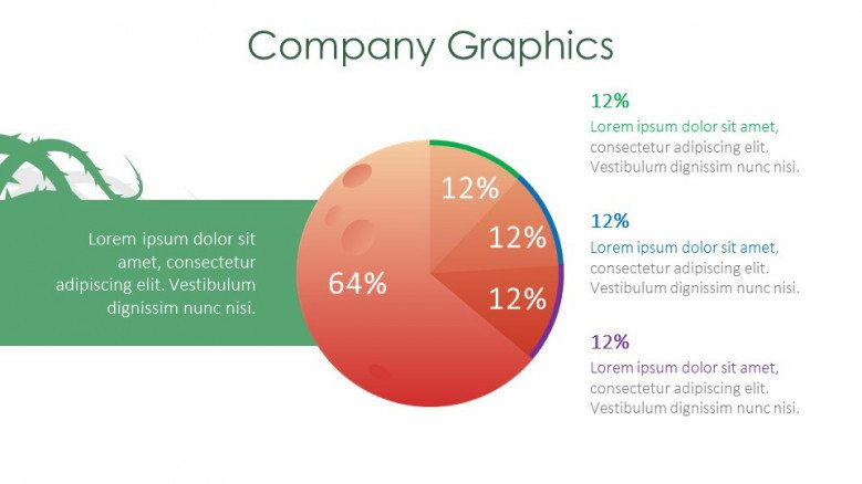 company graphics creative slide for halloween theme presentation with pie chart