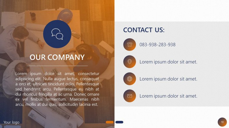 project planning company profile contact slide