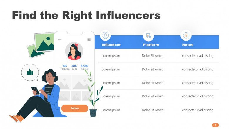 Influencers Table Chart in playful style