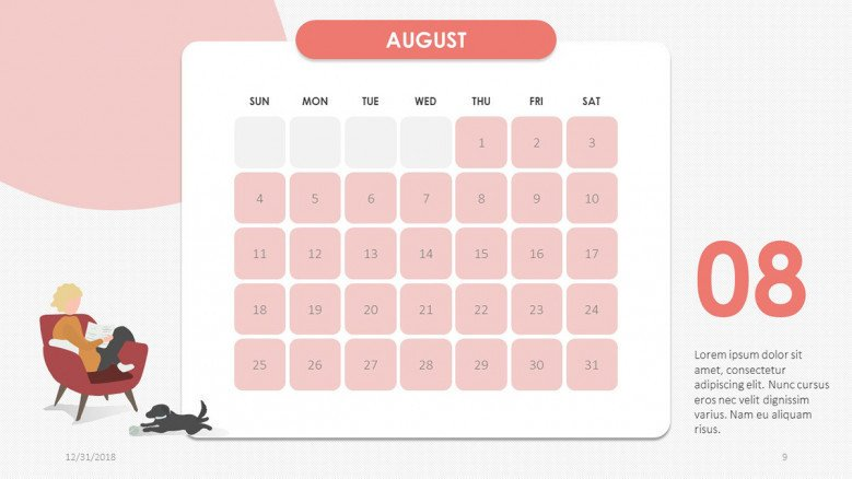 2019 calendar august in creative style with illustration