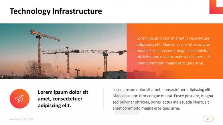project management on technology infrastructure overview slide in text with image