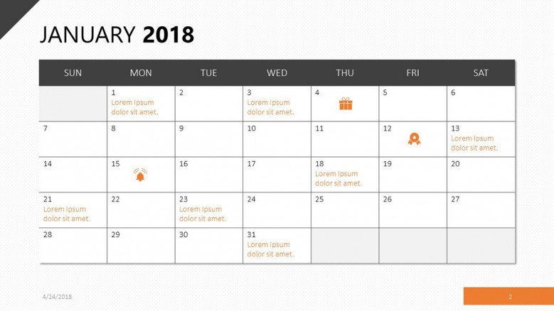 A calendar slide in orange for January 2018