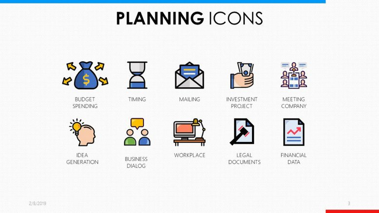 colorful planning icons