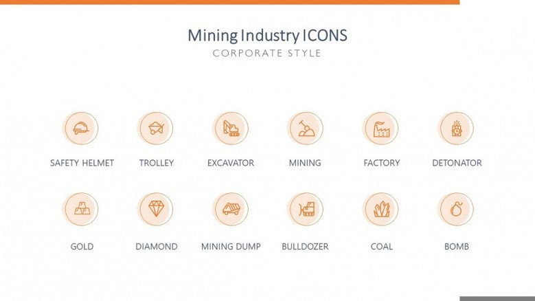 mining industry icons in corporate style